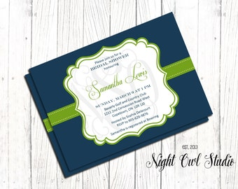 Modern Bridal Shower Invitation-Royal Blue and Kelly Green--Baby Shower-Rehearsal Dinner-Printable