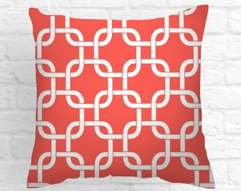 "CORAL PILLOWS Pillow Covers  18 "" X 18 "" Decorative Throw Pillow Cover  Throw Pillows Fabric front & back"