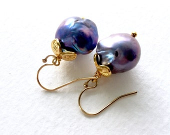 Peacock Blue Baroque Pearl Earrings  by KarenWhalenDesigns