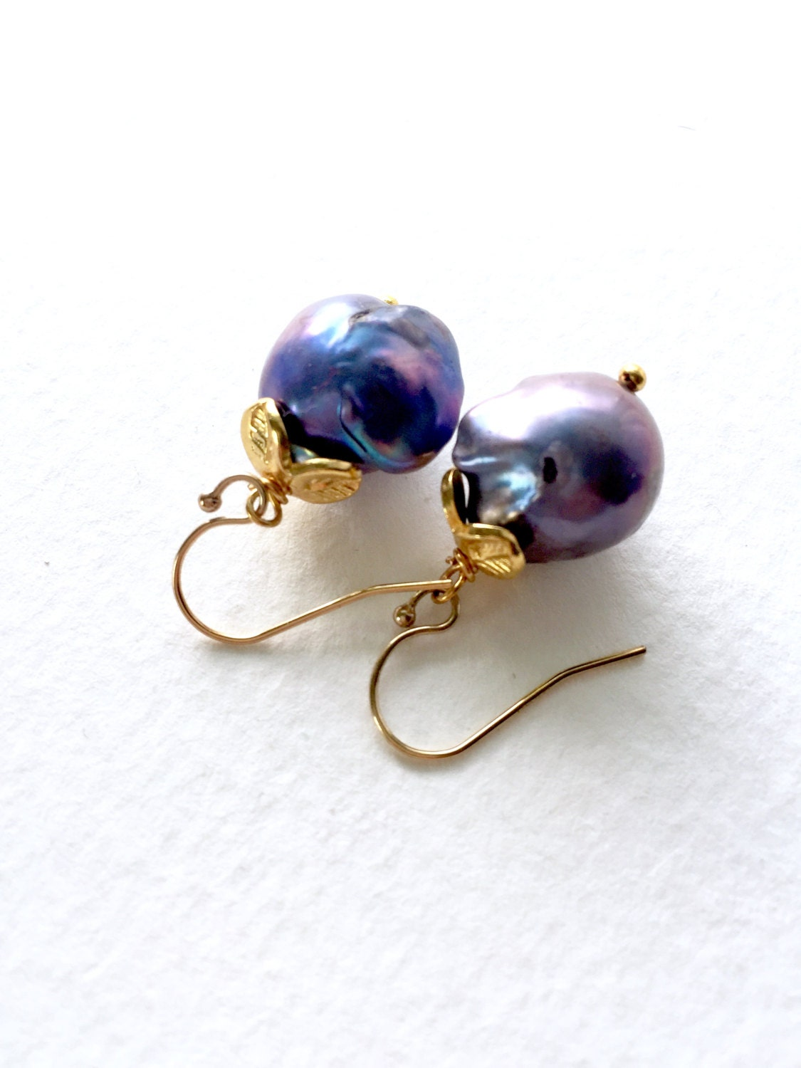 Black Friday Sale Peacock Blue Baroque Pearl Earrings by ...