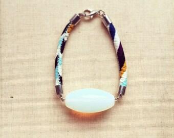 Moonstone Bracelet- Boho Bracelet, Gemstone Bracelet, Opalite Bracelet, October Birthstone, Cord Bracelet, Bright Bracelet FREE SHIPPING