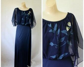 Sale 1970's Dress / Maxi Dress / Vintage Dress / Vintage Maxi Dress / Cocktail Maxi Dress / Bohemian Blue S/M
