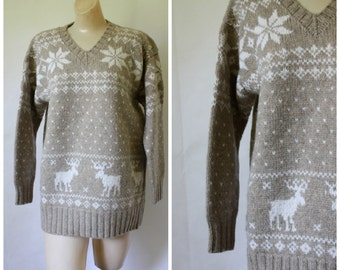 Vintage Reindeer Sweater / Nordic Snowflake Sweater / 1980s Wool Sweater / Womens Vintage Sweater  / 80s Novelty Sweater M/L