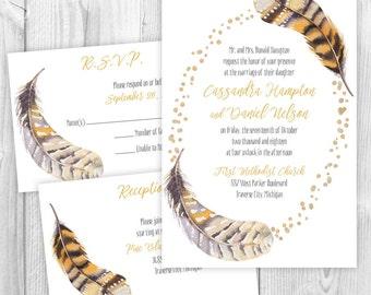 Custom Watercolor Feather Wedding Invitations