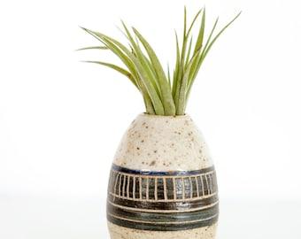 Navy Speckled Egg Shaped Bud Vase