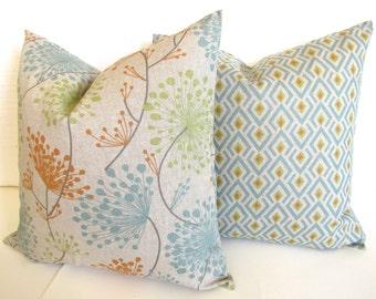 Blue PILLOWS SET Of 2.  Blue Decorative Throw Pillows Orange Pillow Covers 16 18 20x20 All Sizes Citron Green PIllow Cover Grey Floral Decor