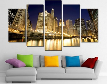 """60""""x36"""" Framed Huge 5 Panel Art City Skyline Downtown Chicago River Giclee Canvas Print - Ready to Hang"""
