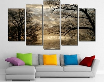 """60""""x36"""" Framed Huge 5 Panel Art Landscape Forest Lake Revive Giclee Canvas Print - Ready to Hang"""