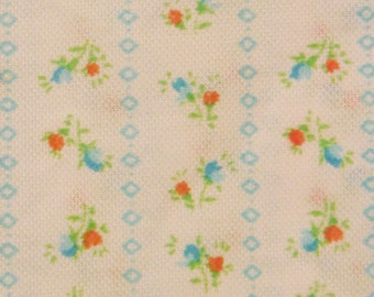 Vintage 70's floral/ striped print fabric