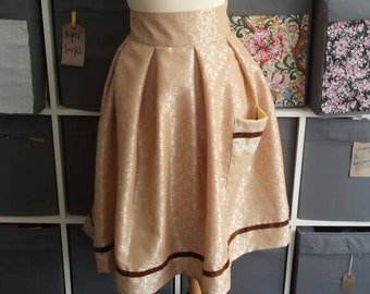 Lovely dark cream brocade skirt from vintage fabric. UK size 10