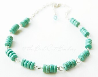 Turquoise Boho Bead Necklace Turquoise Blue Green and Silver Adjustable 18 inch