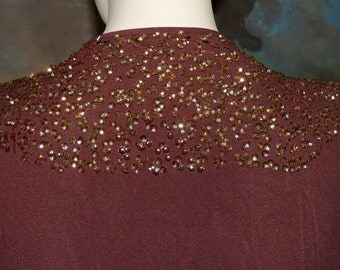 1930s to 40s Brown Sequin Accented Dressing Gown