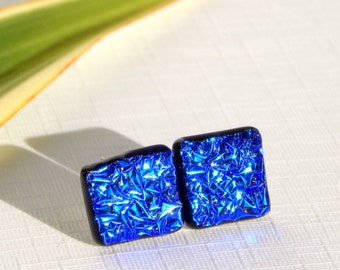 Intense Blue Dichroic Glass Stud Earrings - Fused Glass Jewelry - Cobalt Blue Glass Post Earrings on 925 Sterling Silver