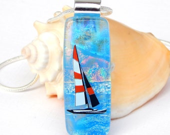 ON SALE Glass Pendant - Dichroic Glass Necklace - Fused Glass Jewelry - Seascape Dichroic Picture Pendant - Sailing Image Art Glass Jewelry