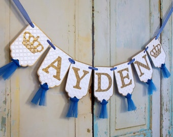 Custom Name Banner with Crowns, White Blue and Gold Banner with Tulle, Prince Birthday Decoration, Royal Prince Baby Shower Banner