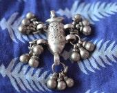 Tribal silver fish pendant vintage Indian Hindu Matsya Vishnu amulet with bells tassels etched patterned ethnic, pisces charm