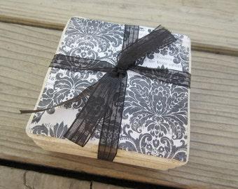 Black/White Damask Coaster Set of Four Wedding/Bridal Shower/House Warming Gift