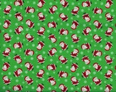 Mini Santa Claus Christmas fabric - green red white - Timeless Treasure - by the YARD