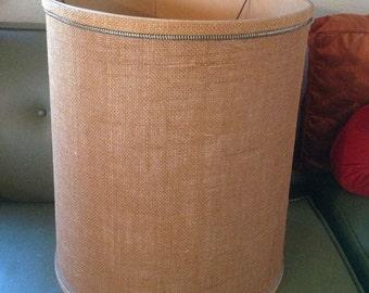 VINTAGE DRUM BURLAP Table lamp shade eames era mid century modern retro