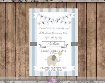 Elephant Baby Shower Invitation - Baby Boy