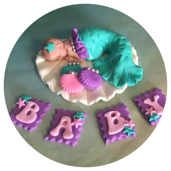 mermaid baby shower cake topper fondant baby mermaid nursery
