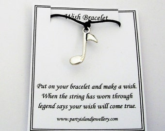 Black MUSIC NOTE Friendship Wish Bracelet with Wish Message Card