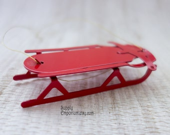 """3"""" Red Metal Sled - Christmas Ornament Supplies - Set of 2 - Miniature Red Metal Sled"""