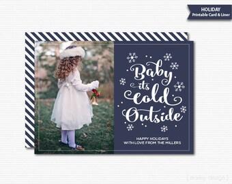 Blue Chrismas Card Baby It's Cold Outside Holiday Greeting Card Printable Christmas Digital Holiday Card Typograhpy Christmas Photo Card