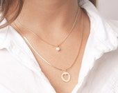 Layered Necklaces Dainty Set Of Two Tiny Pearl And heart Pendant Necklaces Everyday Gold Filled Or Silver Jewelry.
