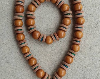 Chunky Wooden Bead Necklace and Bracelet  with Tan Leather Spacers Ceramic Greek Turquoise Aqua Spacers and Large Silver Om Yoga Pendant