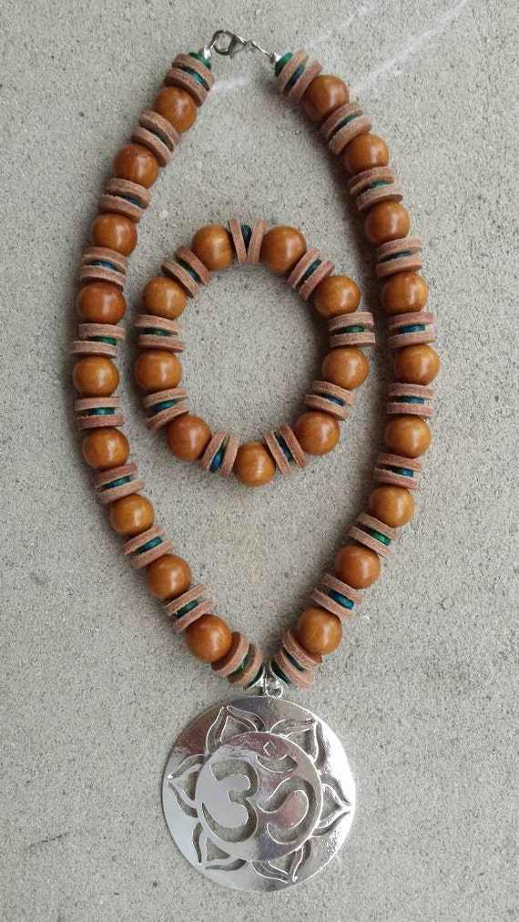 chunky wooden bead necklace and bracelet with leather