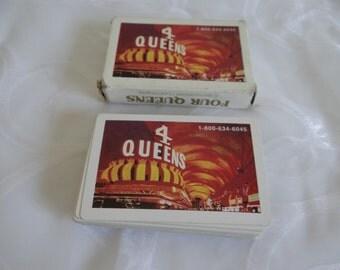 Vintage Las Vegas Casino Four Queens Playing Cards in Box - Vintage Playing Cards - 52 Cards - No Jokers