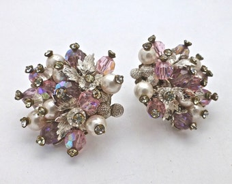 Trifari crystal cluster earrings with a touch of pink