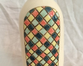 Multicolored ceramic bottle vase