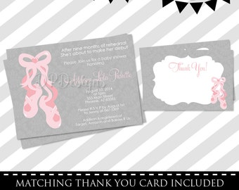 Ballerina Baby Shower Invitation - FREE Thank You Card