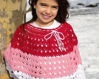 Crochet Pattern Poncho, Girl and Doll, PDF 16-221 INSTANT DOWNLOAD