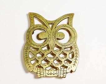 Vintage Brass Bigeye Owl Trivet