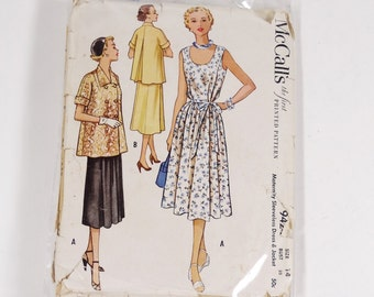 Vintage Maternity 1953 McCalls 9424 - Maternity Sleeveless Dress and Jacket - Size 14 - 1953 Vintage Pattern