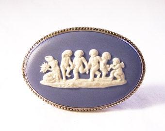 Vintage Wedgwood Brooch, Sterling Silver Wedgwood Brooch, Cherub Brooch, Blue Jasperware Brooch, Oval Brooch, 1973