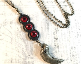 Handcast Claw and Rhinestone Necklace - The Reliquary Vintage Rhinestone Crimson Cabochon