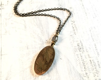 Antique Cufflink Necklace - Gold Fill and Labradorite