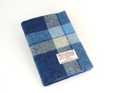 Harris tweed covered A5 journal notebook diary . Blue and white check.