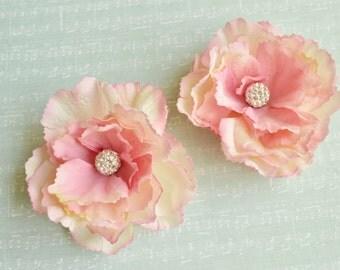 Pink bridal hair clip, Bridal hairpiece flower, Pink wedding flower, Bridesmaid hair piece, Bridal headpiece, Wedding wforals, Rhinestones