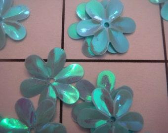 "1/2"" Blue Iridescent Flower Sew on Sequins 75 pc Bag (A-88)"