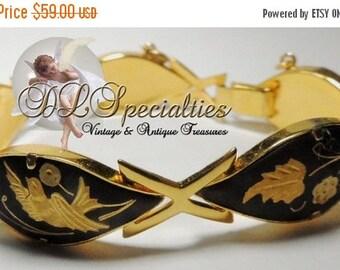 Sizzlin Summer Sale Damascene Bird and Floral Vintage Bracelet Silver Gold Enamel Copper