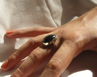 Black Obsidian - Sterling Silver – Ring - size 8