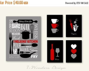 "ON SALE Red Black Kitchen, Personalized Kitchen Art Subway Style with Cups and Hearts Prints, Set of (5) 5""x7's"" and 11""x14"" // Modern Kitch"