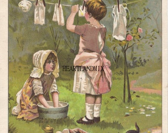 Vintage Girls putting up the Laundry Art Digital Image Download Large print to frame for laundry room
