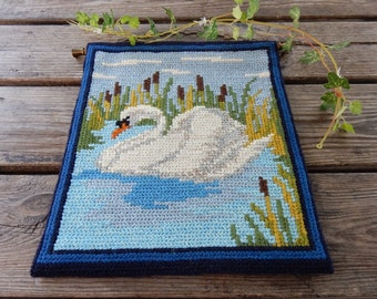Swedish hand embroidered wall hanging 1950s  / a swan