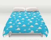 Country Western Blue Sky White Clouds  / Duvet Comforter Cover Bedding Art  / 2nd ships FREE! / Sizes Full, Queen ( XL Twin) , & King